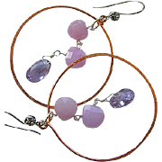 SALE Copper hoops wisteria Silver hook earrings Chalcedony Amethyst Camp Sundance