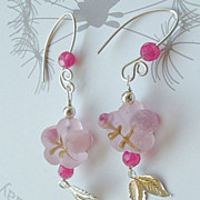 SALE Pink glass roses leaves designer Sterling Silver earrings