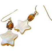 Madeira Citrine Camp Sundance MoP star charm 14k Gold filled earrings