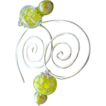 Spiral Hoops Glass flower charms forged coil Sterling Silver Camp Sundance earrings