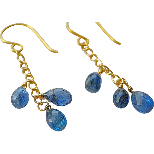 Kyanite 14k Gold filled earrings sultry dangle drop briolette trio Camp Sundance cascade