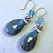 Labradorite blue flash briolette designer forged hook Silver earring