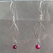 SALE Ruby kiss cut charm Leaf hook earrings Silver Designer style Camp Sundance