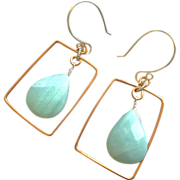 Amazonite Copper square hoop earrings framed Designer Silver hooks