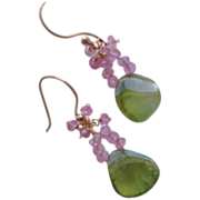 Rose Gold filled Tourmaline Slice earrings pink Topaz clusters Camp Sundance