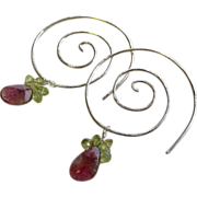 Silver Spiral Hoop earrings Watermelon Tourmaline Slice Camp Sundance