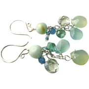 SALE Aqua blue Peruvian Opal Chalcedony Apatite Silver Chandelier earrings