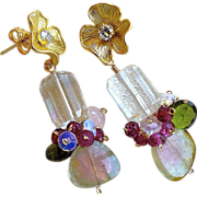 SALE Snow Berries Watermelon Tourmaline earring Slices Vermeil Flowers Camp Sundance