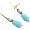 Peruvian Opal Bali Silver Pearl drop earrings Camp Sundance
