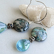 Aqua blue jasper large coins Teal drop Silver hoop earrings