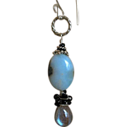 SALE Labradorite Larimar drop earrings Silver Camp Sundance