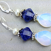 SALE Blue Sodalite Opalite drop earrings Camp Sundance Euro lever back
