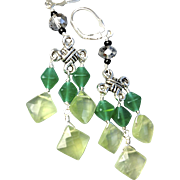 Green Amethyst Celtic Chandelier earrings Camp Sundance gift birthday
