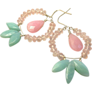 SALE Amazonite Rose Quartz Hoop Earrings rose pink wreath Camp Sundance