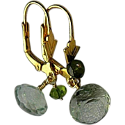 Minty kisses green Amethyst Prasiolite earrings Onion cut briolettes Camp Sundance