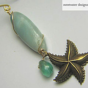 SALE Mermaid Amazonite Apatite sea star charm Camp Sundance drop earring