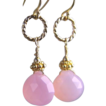 Pink Chalcedony briolette drop earrings caviar vermeil beads