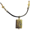 Jasper Citrine elegant black Leather Sterling Silver Camp Sundance necklace