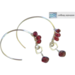 Garnet Hoops Silver forged hand wrapped briolette Camp Sundance earring