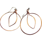 Copper hoop earrings forged leaf on Sterling Silver hooks Camp Sundance
