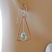 SALE Copper Hoops trapeze Sterling Silver aqua blue quartz earrings
