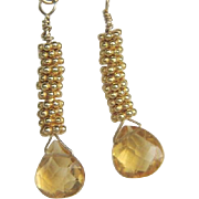 SALE Citrine briolette stack drop earrings 14k gold filled