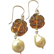 Baroque golden Pearl carved flower butter yellow gold filled drop earrings