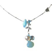 SALE Topaz Amazonite Silver necklace Chalcedony Camp Sundance dragonfly charm