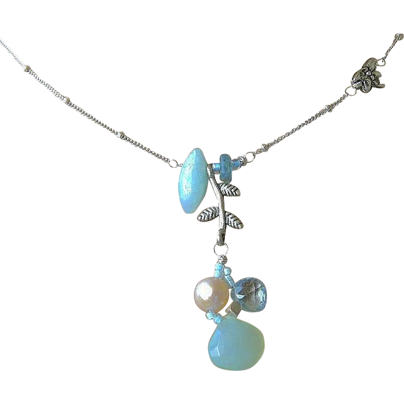 Topaz Amazonite Silver necklace Chalcedony Camp Sundance dragonfly charm
