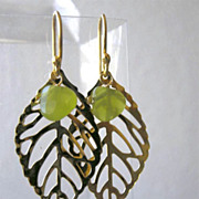 SALE Leaf green earrings Camp Sundance olive dangle drops