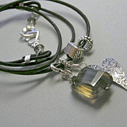 SALE Smoky Quartz necklace or bracelet house heart charms leather convertible