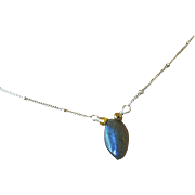 SALE Labradorite marquis Solitaire Camp Sundance Silver necklace
