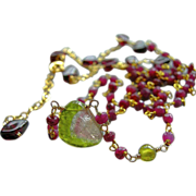 Tourmaline Ruby necklace hand wrapped Watermelon gem Slice Gold filled solitaire