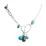 Turquoise Labradorite Apatite forged Silver heart necklace