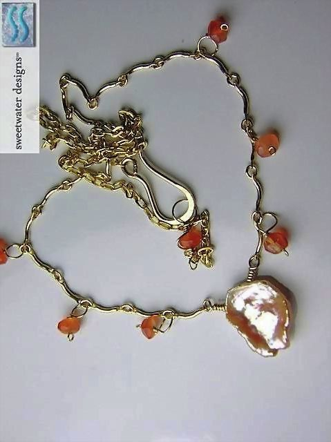 Carnelian Keshi freshwater Petal Pearl 14k Gold filled scallop necklace