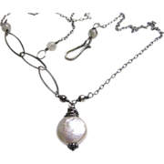 Camp Sundance Coin Pearl freshwater asymmetrical Sterling Silver necklace