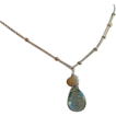 Teal Moss Aquamarine briolette Neon Apatite Labradorite necklace