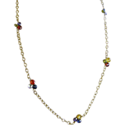 SALE Long Camp Sundance necklace CZ rainbow briolette Gold filled
