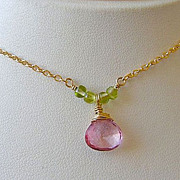 SALE Pink Mystic Quartz Solitaire Peridot accented Camp Sundance Pendant necklace