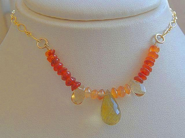Lemon Topaz Carnelian Citrine gold filled Camp Sundance necklace