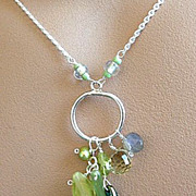 Labradorite Peridot cluster sliver necklace green quartz glass charms