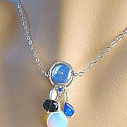 SALE Iolite Lapis Lazuli Coin Pearl Opalite necklace Silver Blue moon Camp Sundance charms