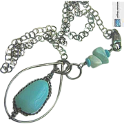 Larimar Peruvian blue Opal antiqued Sterling Silver Turquoise necklace