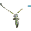 Dichroic Art glass Silver Peridot Pearls Camp Sundance pendant necklace