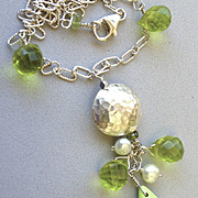 Gaspeite green Sterling Silver pendant necklace Camp Sundance