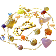 Long rope length gem bead necklace Gold filled key charm Camp Sundance