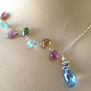 London blue Topaz Tourmaline Silver necklace Camp Sundance toggle