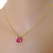 SALE Strawberry tourmaline pink quartz solitaire trillion necklace Camp Sundance Gem Bliss