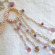 Peach Pearl Eternity necklace Garnet Topaz quartz Camp Sundance toggle