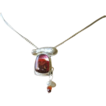 Red dichroic bezel cabachon Keshi stick Pearl Silver necklace Camp Sundance